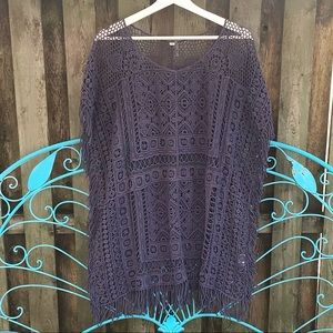 Crocheted Fringed Tunic Top